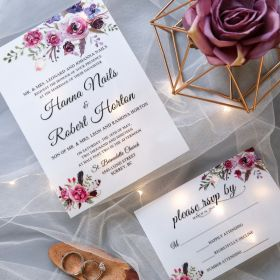 Pink and Purple Floral UV Printing Wedding Invitations CUI003