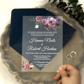 Purple and Pink Floral Acrylic Wedding Invitations with White Printing CA007