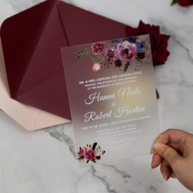 Purple Floral Frosted Acrylic Wedding Invitations CAM007