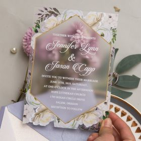 Purple White Floral Frosted Acrylic Wedding Invite CAM028