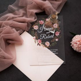 Romantic Dusty Rose Floral Acrylic Wedding Invitations CA030