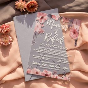 romantic pink Floral 1mm Acrylic Wedding Invites CAX019