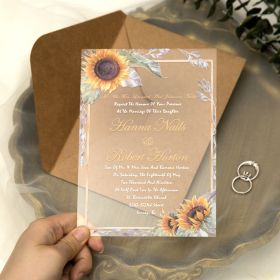 Rustic Sunflower Acrylic Wedding Invitations CA043