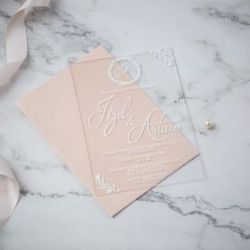 Simple Chic White Calligraphy Acrylic Wedding Invitations CA011 1