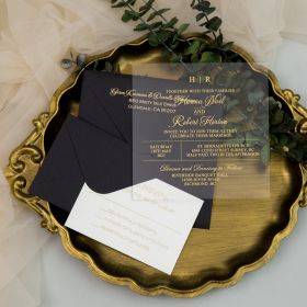Simple Elegant Gold Foil Acrylic Wedding Invitations CAX057