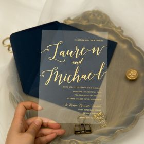 Simple Modern Clear Gold Printing Acrylic Wedding Invitations CA041