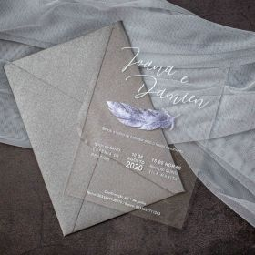 Unique Feather Acrylic Wedding Invitations CA015 2