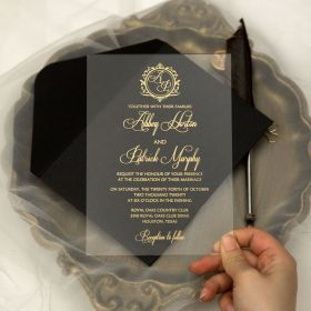 Vintage Calligraphy Gold Printed Acrylic Wedding Invitations CA002