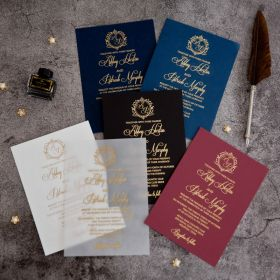 Vintage Foil Wedding Invitations With Monogram CFI005