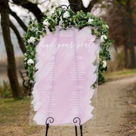Water Color Painting Acrylic Wedding Seating Chart Signs CS047