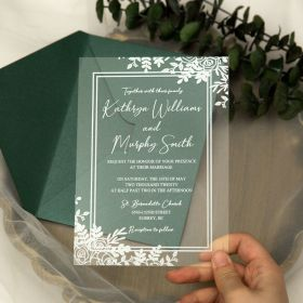 White Printed Floral Acrylic Wedding Invitations CA004