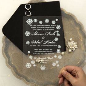White Snowflake Clear Acrylic Wedding Invitations CA054